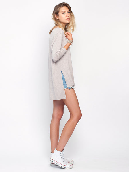 Bassett long sleeved top with deep side splits.  Gentle Fawn. Soft taupe