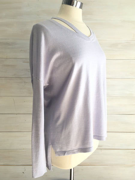 Lightweight sweater with vented neck. Ice Blue. Press