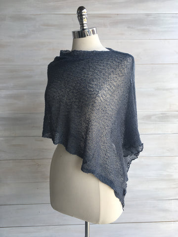 Sheer knit poncho. Fair Trade. Metal