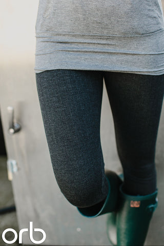 Lotus Herringbone leggings. Charcoal Grey. Orb