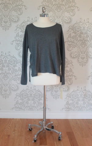 Nanavatee long sleeved over sized tee. Charcoal Grey