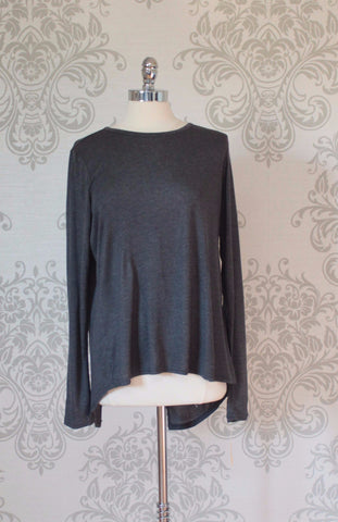 Soft long sleeved top with extended split tail. Nanavatee, Charcoal grey