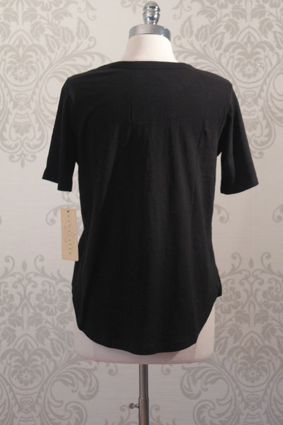 Nanavatee short sleeve black cotton slub top with side splits.