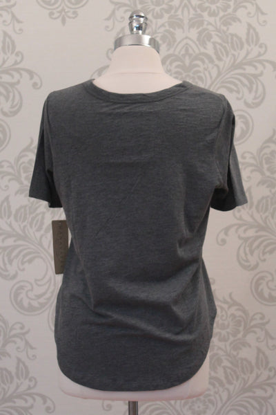 Nanavatee short sleeve charcoal grey cotton slub top with side splits.