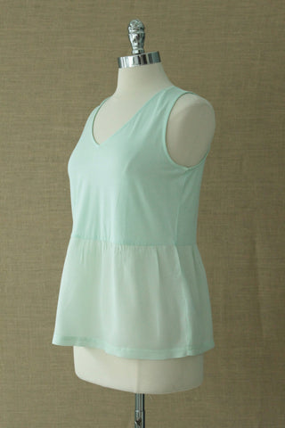 Sweet Pea Peplum v neck tank. Orb. Sea Foam green