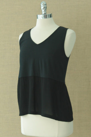 Sweet Pea Peplum v neck tank. Orb. Black