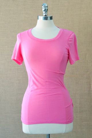 Scoop neck tee from bobi. Sweetie Pink