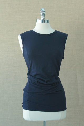 Side pleated tank. Bobi.  Passport blue