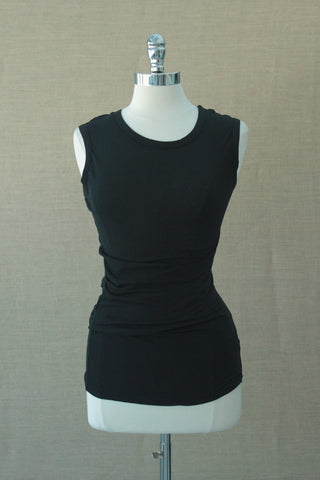 Side pleated tank. Bobi.  Black