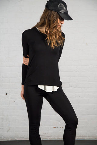 Layering long sleeved hi-low crew. Black. Queen of Hearts