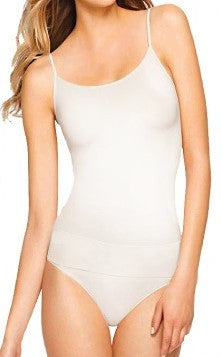 Basic seamless cami with spaghetti straps.  White