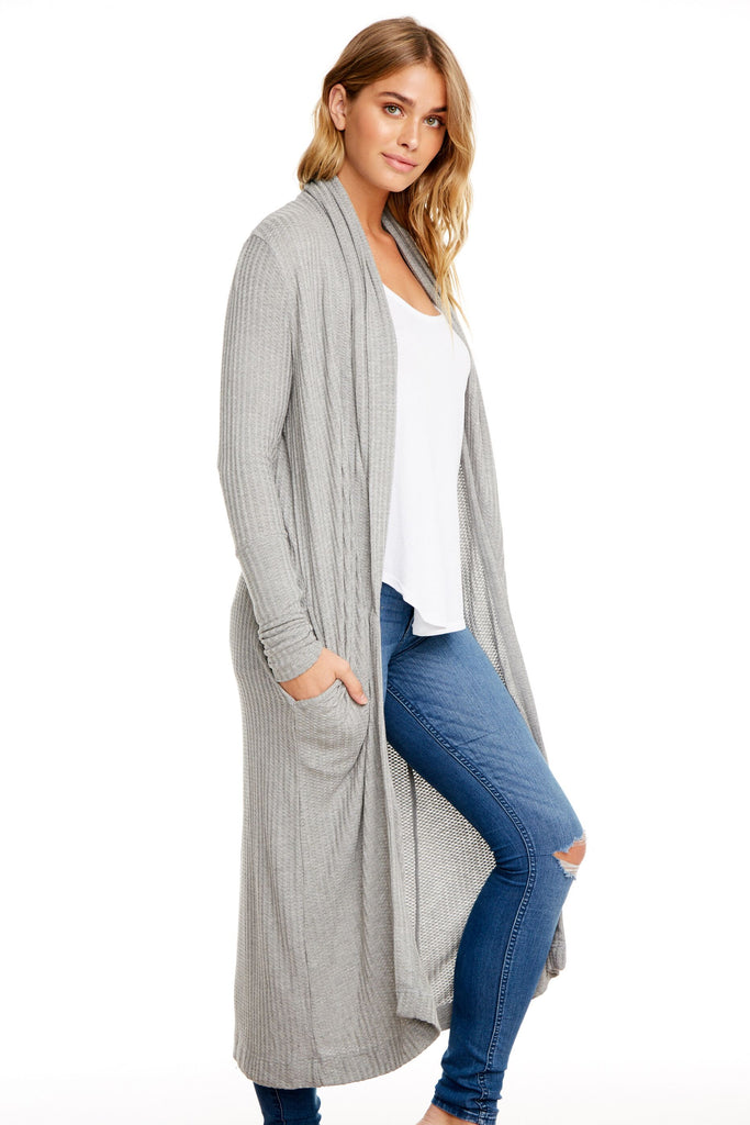 Duster cardigan with shawl collar. Chaser.Heather Grey.