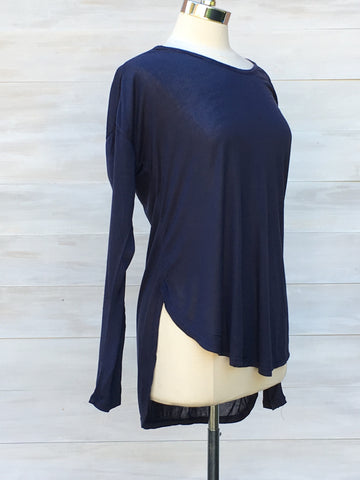 Softly draping long sleeved hi-lo top. Indigo.  Nanavatee