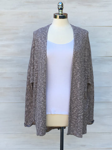 Lotus cardigan. Beige/Grey Mix. Gentle Fawn
