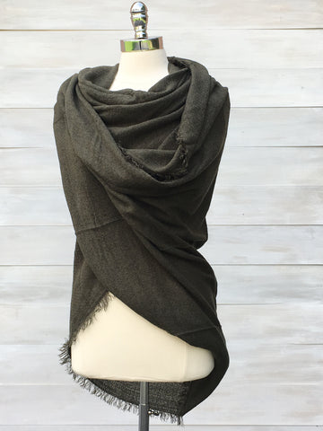 Large soft scarf/ shawl. Deep Olive