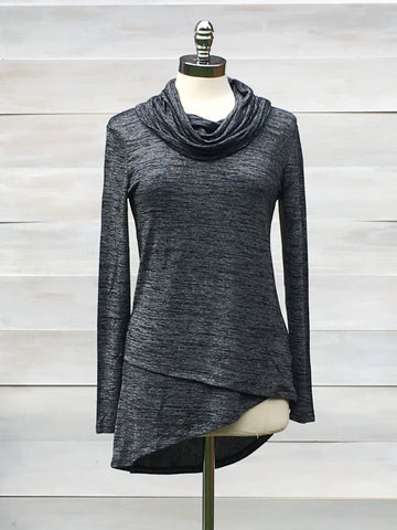 Cowl neck tunic with asymmetrical layered hem. bobi