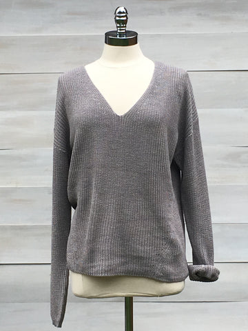 "Slouchy rib ""Tucker"" sweater. Opal Grey, Gentle Fawn"