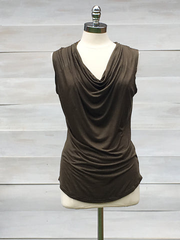 Soft Cowl Neck Sleeveless Top. Press. Khaki
