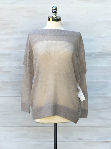 Boat neck lightweight knit sweater. Press. Beige