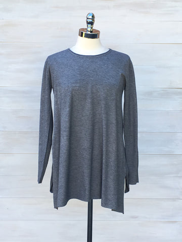 Cashmere feel long sleeved tunic. Diabolika. Grey