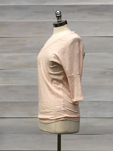 Dropped shoulder slub cotton casual top. bobi. Bare pink