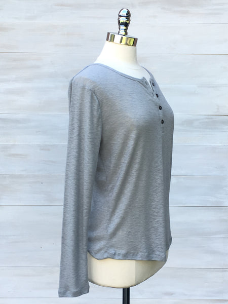 Soft ribbed long sleeve with grandad collar. b.young. Light grey