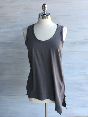 Asymmetrical sleeveless top with side splits. bobi. Stone