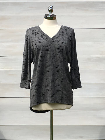 Ripped knit tunic with 3/4 sleeves. bobi