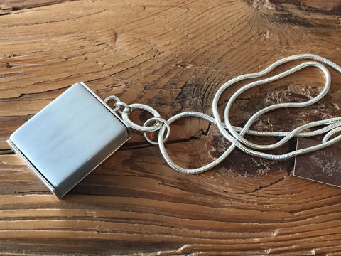 Block silver pendant. Grey. Lucy the First