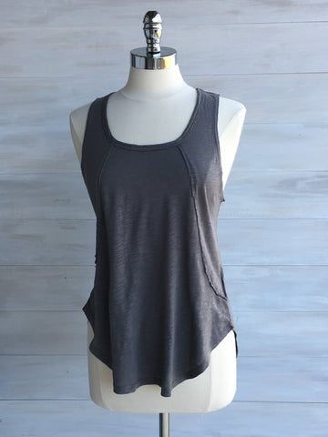 sleeveless slub cotton top. bobi. Stone