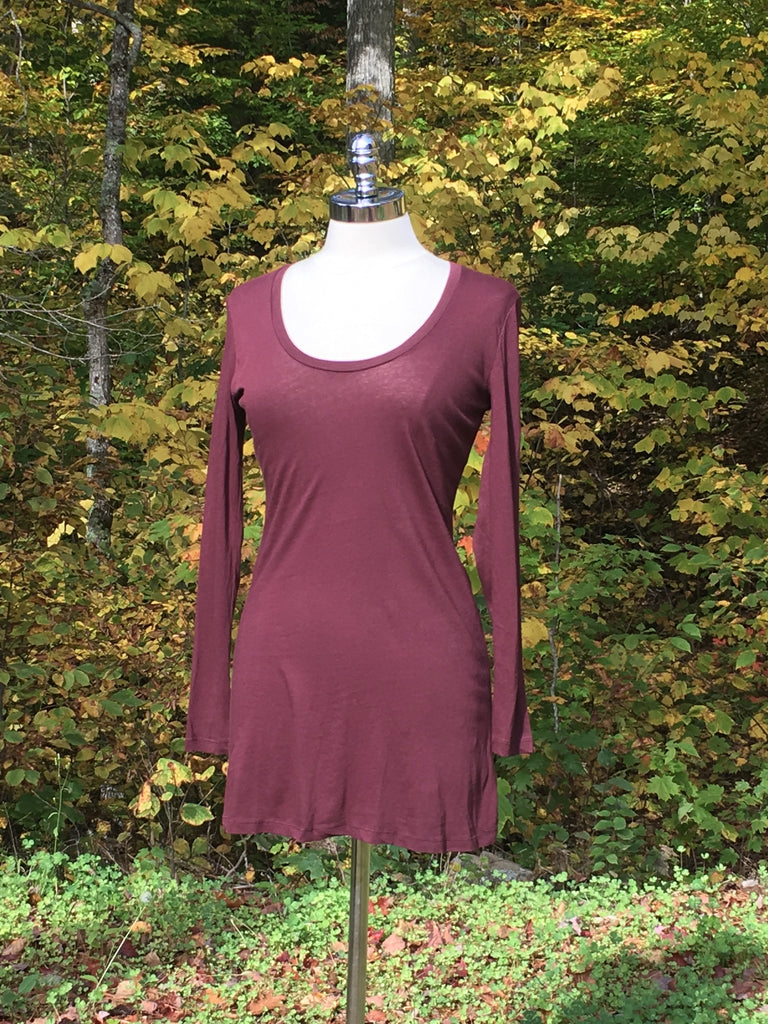 Long sleeved scoop neck top. bobi. Malbec