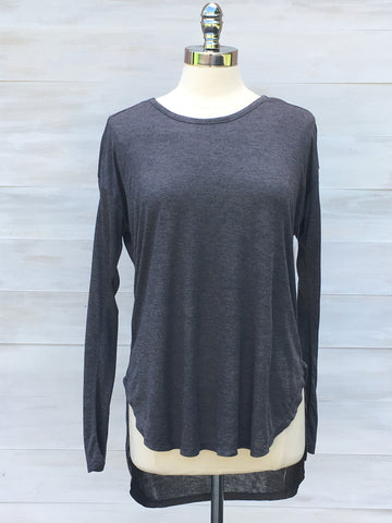 Softly draping long sleeved hi lo top. Charcoal grey.  Nanavatee