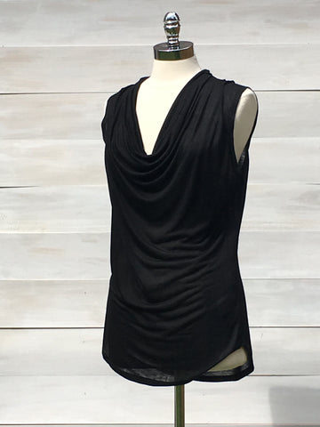 Soft Cowl Neck Sleeveless Top. Press. Black