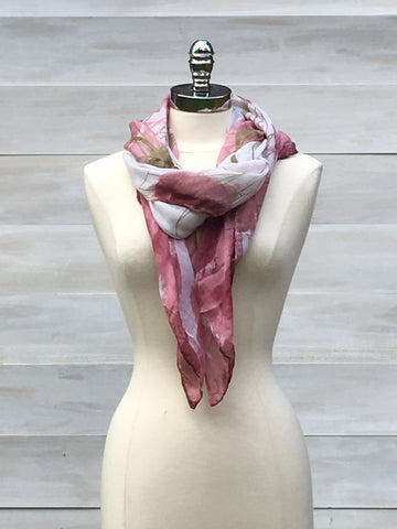 Watercolour print scarf. Pink/Olive