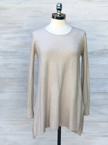 Cashmere feel long sleeved knit tunic. Diabolika. Sand Beige