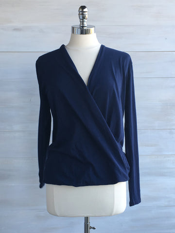 Cross front long sleeved top. Deep Navy. bobi