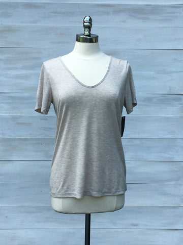 Abyss subtle v neck short sleeved top. Pale Beige. Gentle Fawn