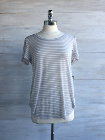 Alabama tee. Pale grey stripe. Gentle Fawn