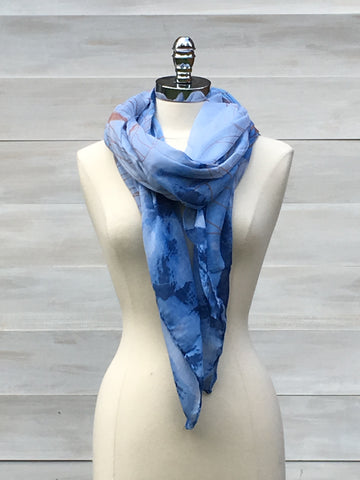 Watercolour print scarf. Blue