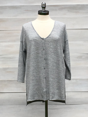 "Button front ""Impulse"" top. Heather grey. Gentle Fawn"