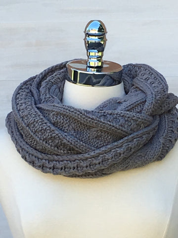 Circle knit Nikki cable scarf. Orb. Grey