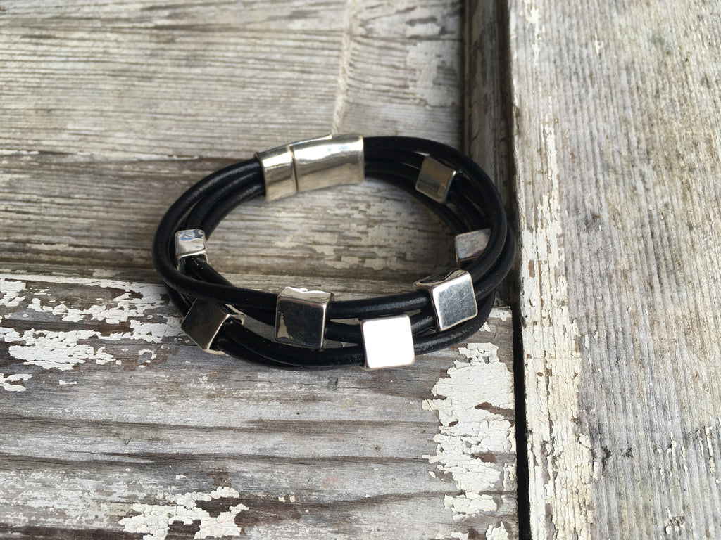 multistrand leather bracelet with silver squares