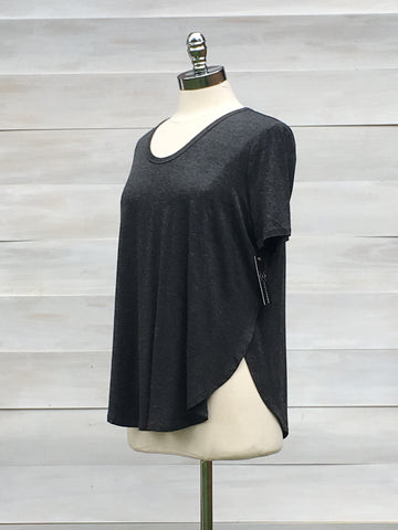 "Short sleeved ""momentum"" top with side splits. Charcoal. Gentle Fawn"