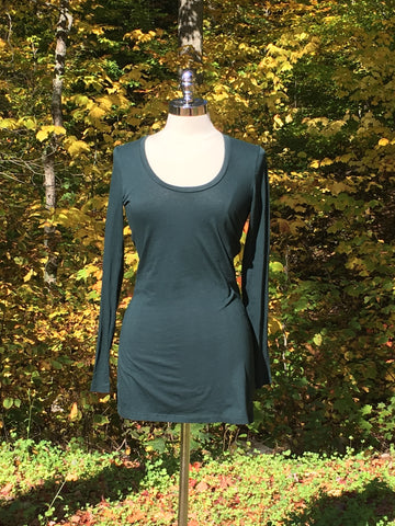 Long sleeved scoop neck top. bobi. Forest Green