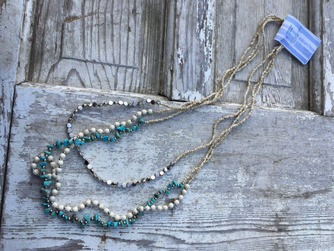 Three strand turquoise /silver necklace