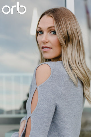 Juliet keyhole shoulder sweater. Pale Grey. Orb
