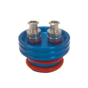 Aluminum Stopper with Double Luer Adapters