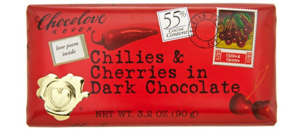 Chocolove Chilies & Cherries in Dark Chocolate Bar