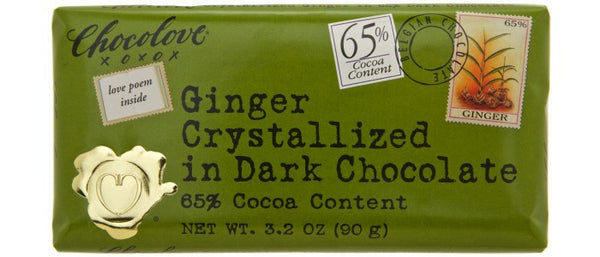 Chocolove Ginger Crystallized Dark Chocolate Bar