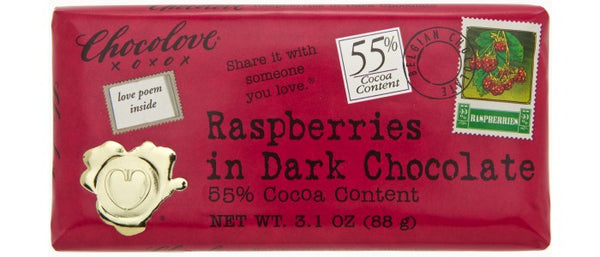 Chocolove Raspberries in Dark Chocolate Bar